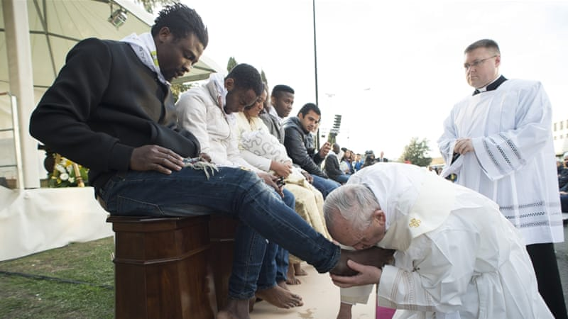 The Holy Thursday rite re-enacts the foot-washing ritual Jesus performed on his apostles [L''Osservatore Romano/Pool Photo via AP]