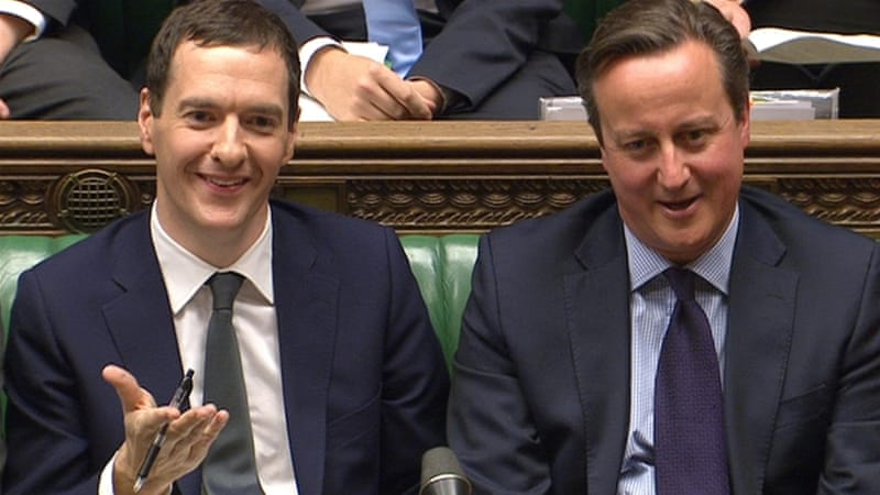 Britain's Chancellor of the Exchequer George Osborne (L) seated next to Prime Minister David Cameron after delivering the Autumn Statement to Parliament in London, Britain. [Reuters]