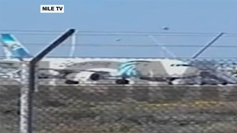 The hijacked EgyptAir jet was parked at a secure area at Larnaca airport in Cyprus [Screenshot - Nile TV]