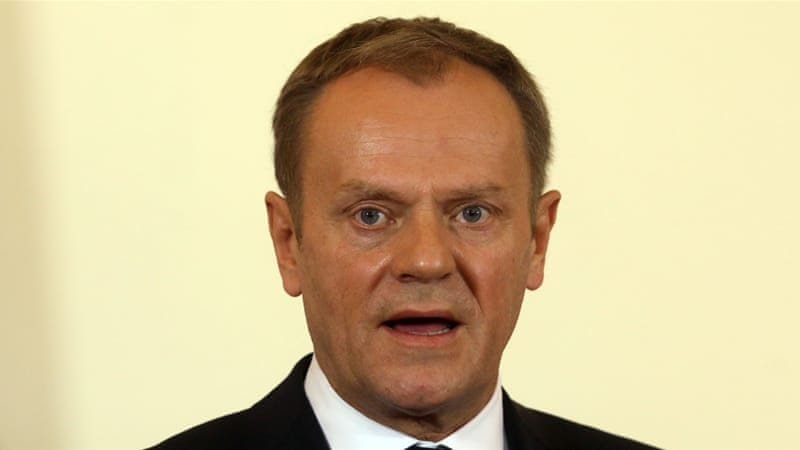 Tusk is touring the region, trying to find a common strategy to resolve the refugee crisis [Ronald Zak/AP]