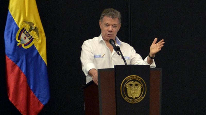 Colombian President Santos has staked his presidency on ending the conflict with the guerrilla groups [Juan David Tena/EPA]
