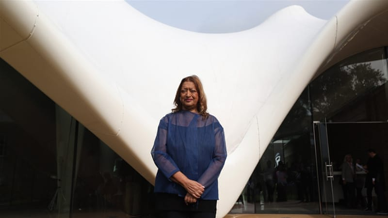 Architect Zaha Hadid poses for a photograph in front of the redeveloped Serpentine Sackler Gallery in Hyde Park  [Oli Scarff/Getty Images]
