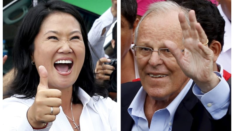 Fujimori [L] fell short of winning 50 percent of votes cast and must now face Kuczynski in a runoff on June 5 [Reuters]