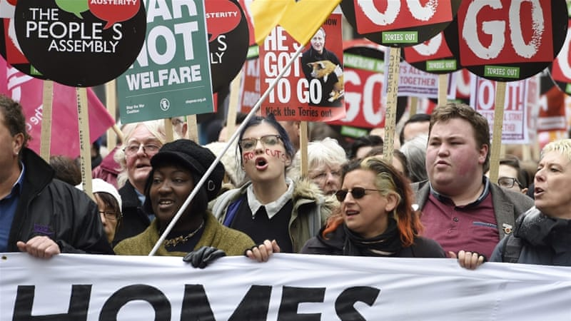 The protesters called for increased investment in the health service, housing, education and public sector pay [EPA]