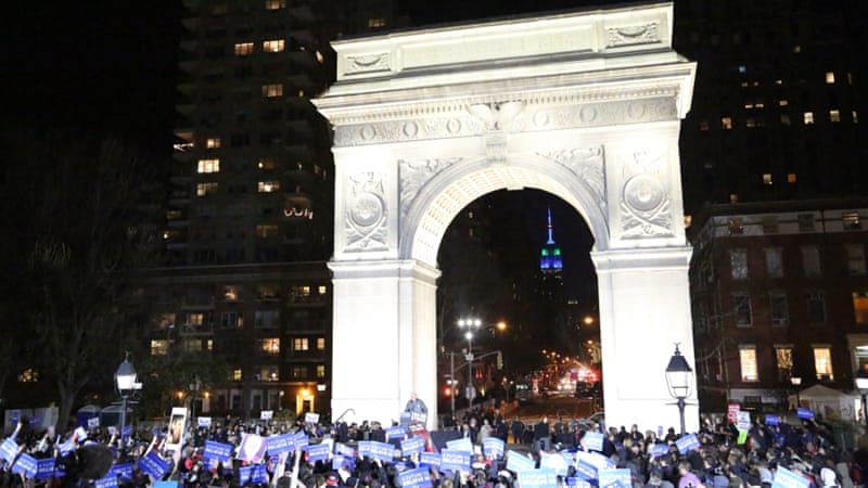 Bernie Sanders held a rally near Manhattan's Central Park [Ted Regencia/Al Jazeera]