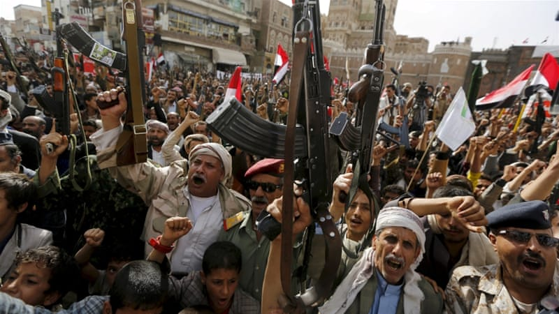 Armed Houthi followers rally against Saudi-led air strikes in Sanaa, Yemen [REUTERS]