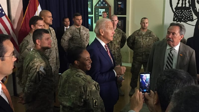 Joe Biden also met with US diplomatic and military personnel serving in Iraq [The Associated Press]
