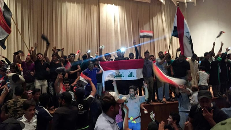 The unrest in Baghdad kicked off just after Sadr condemned the political deadlock in a press conference [Reuters]