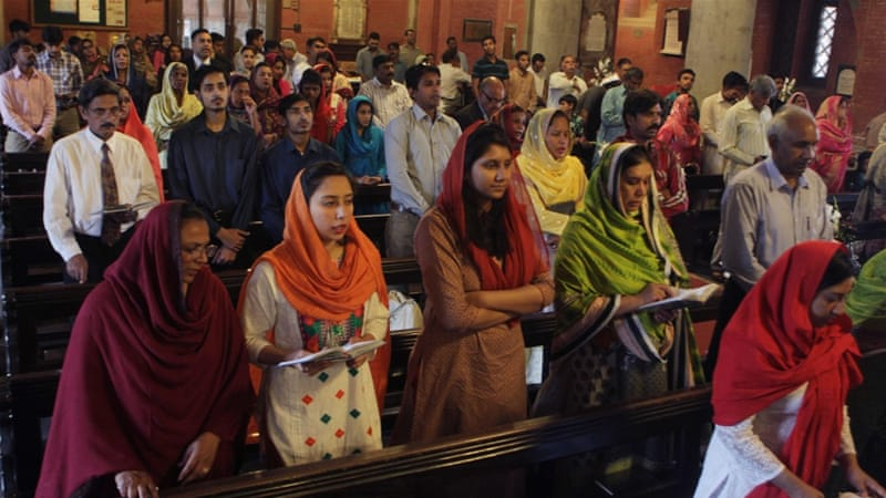 Pakistani Christians attend services for the victims of the suicide bombing which killed dozens of people, at a local church in Lahore, on April 3. [AP]