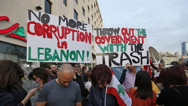 A protest against Lebanon's rubbish crisis and government corruption was held in downtown Beirut in March [Hassan Ammar/AP]