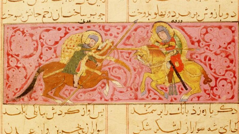 Scene from the manuscript of the poem, the Romance of Varqa and Gulshah, paintings by Khuwayyi. c 1250AD Konya, Turkey [Getty]