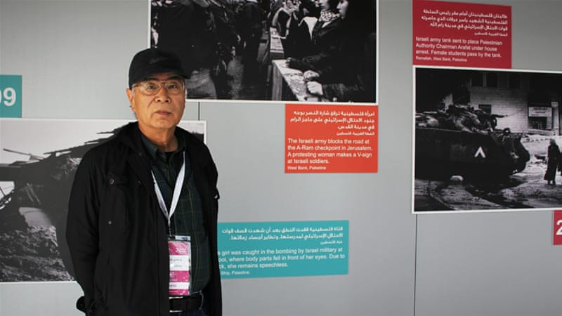 As he learned more about Palestinian history, Hirokawa began to take part in protests against Israel's occupation [Jehan Alfarra/Al Jazeera]
