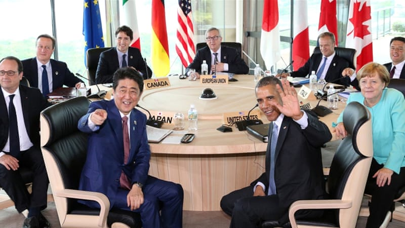 Participants of the G7 summit attend a session meeting in Mie Prefecture, Japan, May 2016 [Reuters]