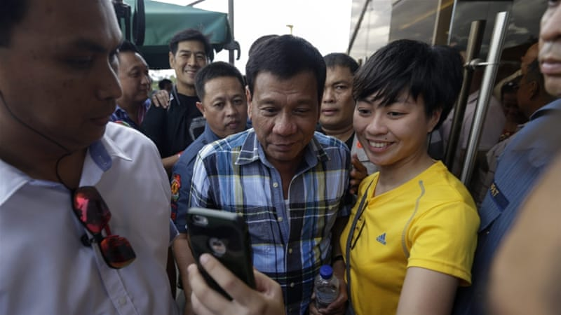 Duterte will officially assume the presidency on June 30, when Aquino's six-year term ends [EPA]