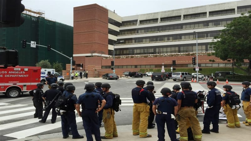 UCLA officials locked down the campus following the deadly shooting [Ringo H.W. Chiu/AP Photo]