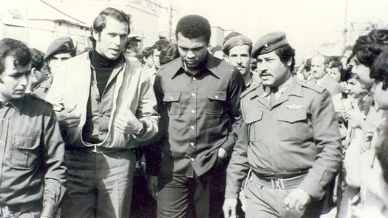 Muhammad Ali visiting a Palestinian refugee camp in southern Lebanon in the 1970s [Creative Commons]
