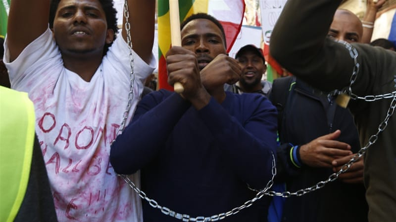 Ethiopian migrants, all members of the Oromo community of Ethiopia living in Malta, protest in Valletta, Malta, December 2015 [Reuters]