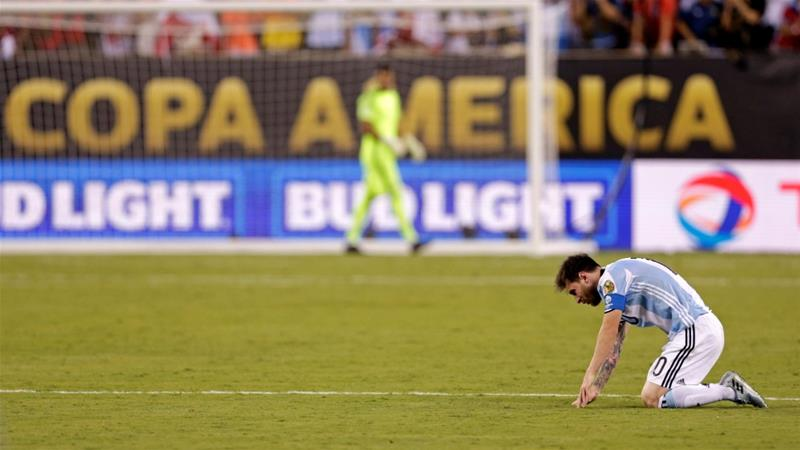 Messi's last contribution in international football was a missed penalty in the Copa America final [Adam Hunger-USA TODAY Sports]