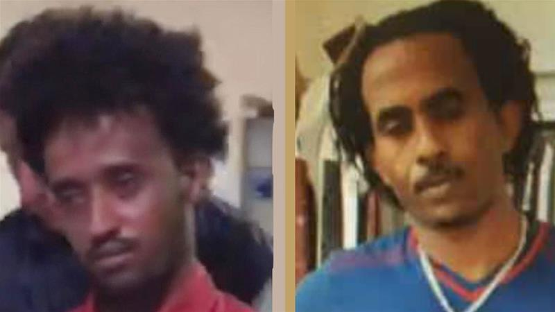 Family and friends said the detained man is 27-year-old Eritrean Medhane Tesfamarian Berhe [left] not Mered [right] [EPA]