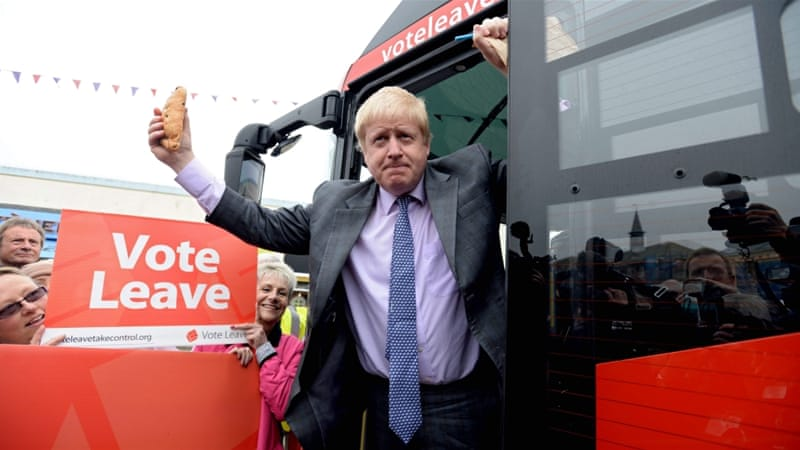 Former Mayor of London Boris Johnson poses as he launches the Vote Leave Bus Tour in St Austell, Cornwall, Britain [EPA]