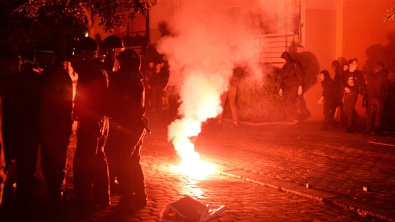 The protests started late on Saturday and lasted until early Sunday  [EPA]