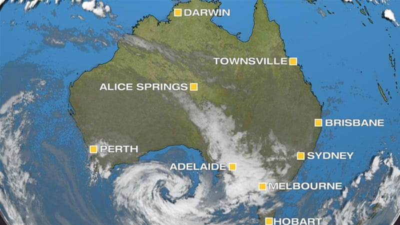 Tropical cyclone off the Coast in Australia