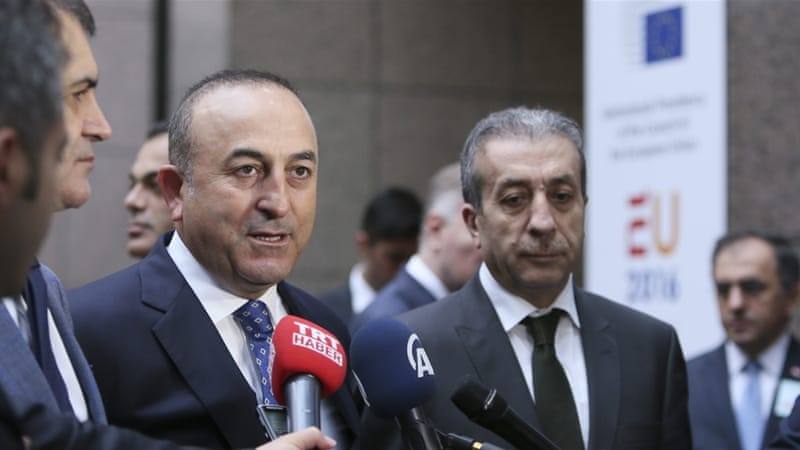 Turkey's EU minister arrives at the EU-Turkey accession conference in Brussels  [EPA]