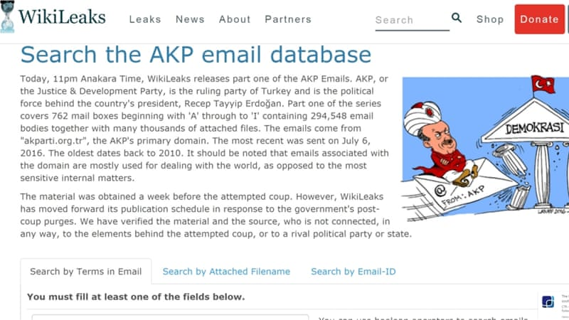 The Wikileaks website said more emails and attached files would be published soon [Al Jazeera]
