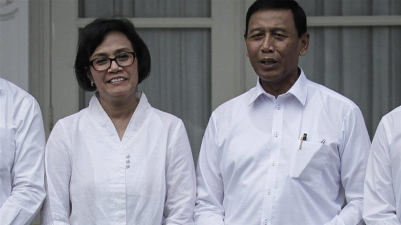 Wiranto, right, and Indrawati are among the new cabinet appointees [Bagus Indahono/EPA]
