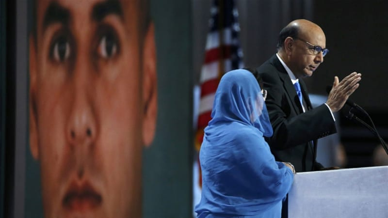 Khizr Khan condemned Trump's vilification of American Muslims as he addressed the DNC [Lucy Nicholson/Reuters]