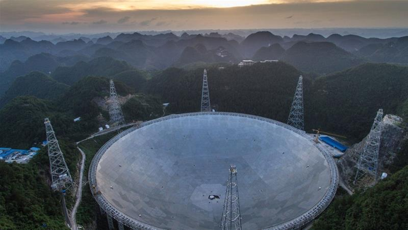 Construction on the 500-metre diameter radio telescope began in 2011 [Xinhua news agency/AP]
