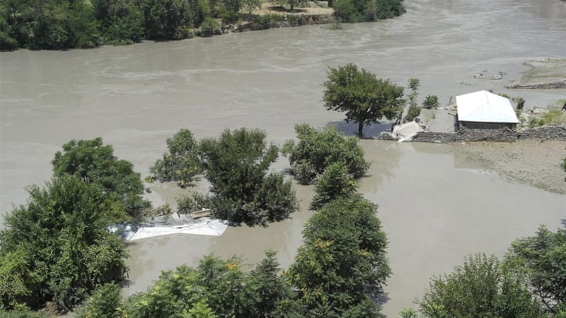 The flash floods washed away a mosque and 35 houses completely, the Pakistan Disaster Management Authority said [EPA]