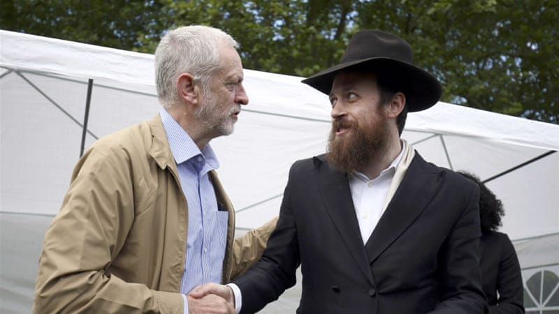 Jeremy Corbyn shakes hands with Rabbi Mendy Korer at an anti-racism rally in London, Britain [Reuters]