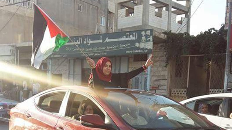 Amal al-Sada heads towards her home in Halhul, Hebron, after being released from prison [Photo courtesy of Amal al-Sada]