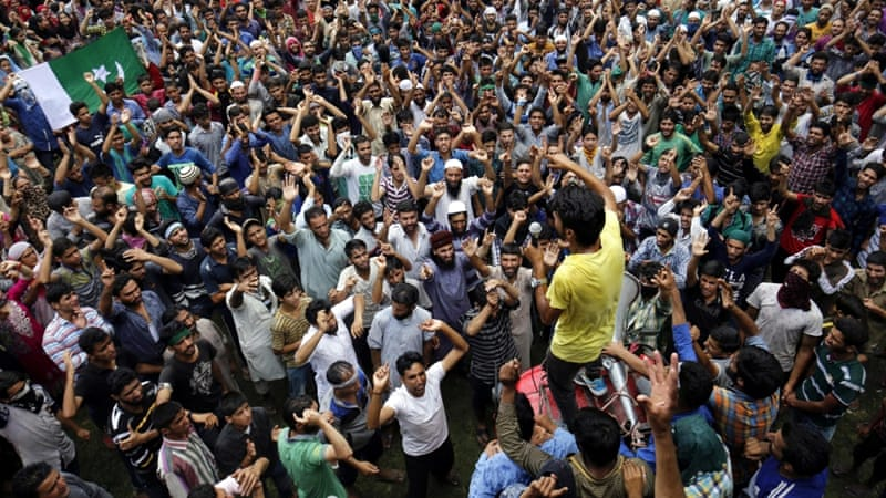 Massive demonstrations were sparked last month by the killing of a Kashmiri opposition leader [EPA]