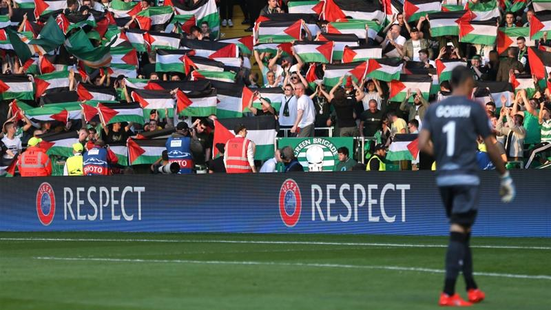 Celtic were fined about $20,900 two years ago after a Palestine flag was displayed at a Champions League qualifier against KR Reykjavik of Iceland [Reuters]