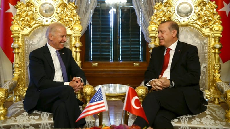 In this January 23 photo Turkish President Tayyip Erdogan, right, meets with US Vice President Joe Biden in Istanbul [Reuters]