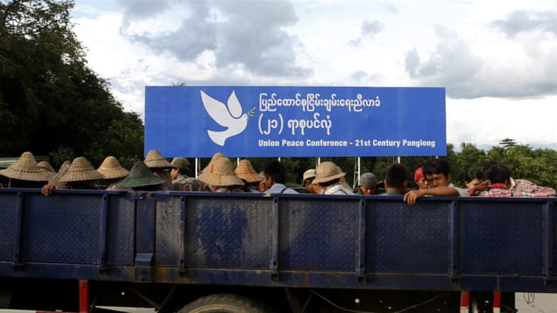 A sign for Myanmar's peace conference with ethnic armed groups in Naypyitaw [Hein Htet/EPA]
