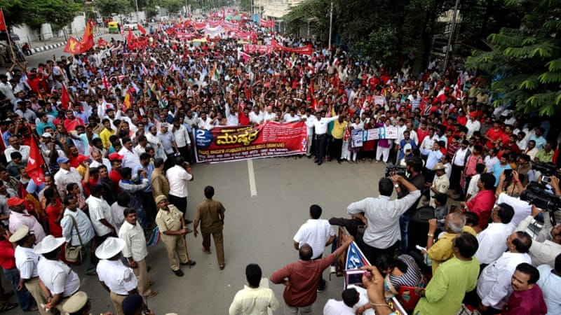 One of the key demands of striking workers was simply that labour laws should not be amended unilaterally, writes Tiwari [EPA]