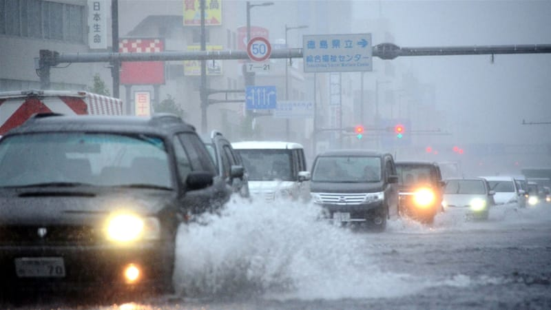 Malakas is expected to continue to drop huge amounts of rain right across Shikuku and Honshu [Jiji Press/AFP]