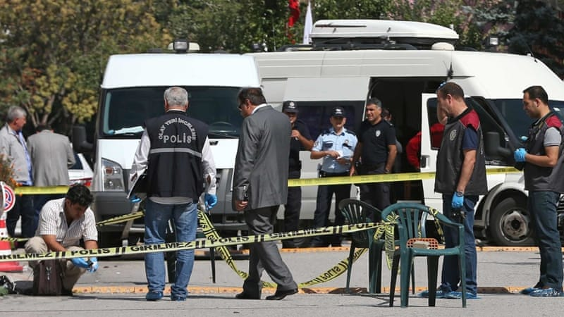 At least one assailant was shot after trying to storm the embassy in Ankara [Burhan Ozbilici/AP]