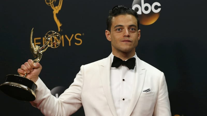 Actor Rami Malek poses backstage with his award for Outstanding Lead Actor In A Drama Series for Mr Robot [REUTERS]