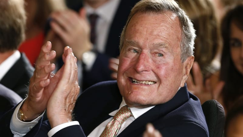Titans of the Republican establishment are sitting on the fence or declaring, as former President George H Bush has done, their intention to swallow hard and vote for Clinton, writes Aronson [Reuters]