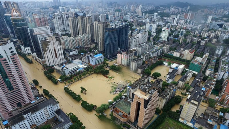 Torrential rain from Typhoon Megi triggered flooding and landslides in southeast China. [EPA]