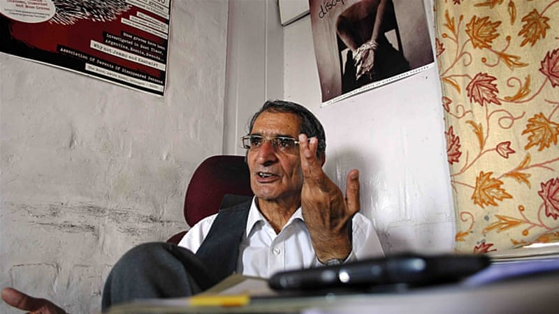 Parvez Imroz, the founding president of the JKCCS group [Faisal Khan/Al Jazeera]