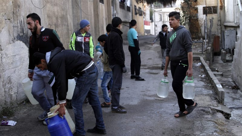 Water supplies in Damascus has been cut off since December 22 [Yousef Badawi/EPA]