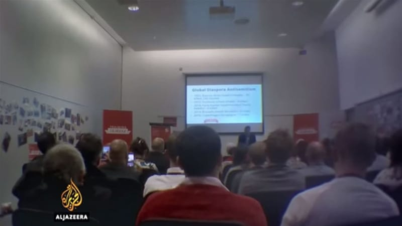 This still is taken from an undercover recording of an anti-Semitism training session at the September Labour Party conference where Walker was heckled after questioning Israeli policy [Al Jazeera]