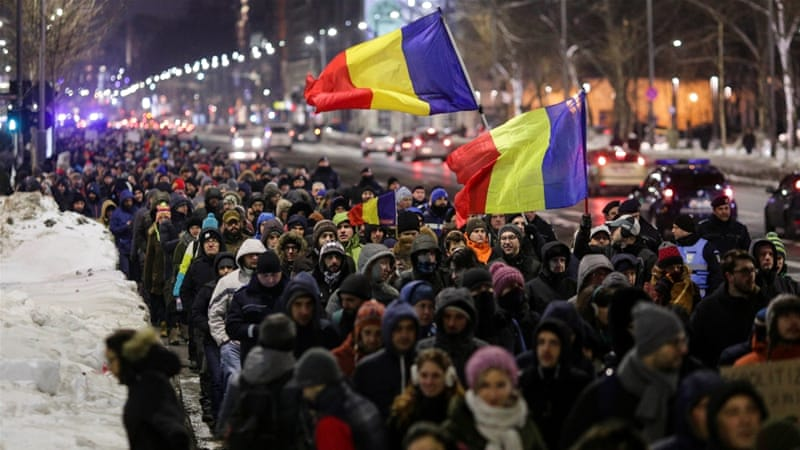 Image result for Thousands protest against government corruption in Romania