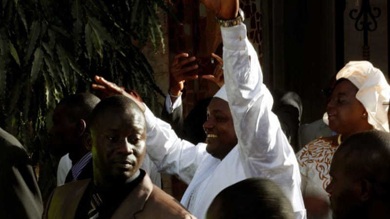 Barrow waves to supporters after his inauguration in Dakar [Thierry Gouegnon/Reuters]