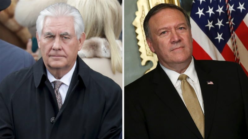 Tillerson, left, is a former ExxonMobil executive, while Pompeo, right, is a former member of Congress [AFP/Reuters]